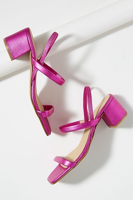 Strappy-Leather Block Heels