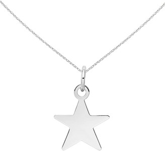 14K White Gold Plain .018 Gauge Star Charm with 18-inch Cable Rope Chain by Versil