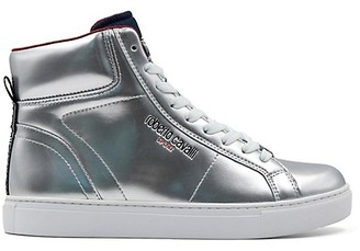 Roberto Cavalli Sport Metallic Leather High Top Sneakers