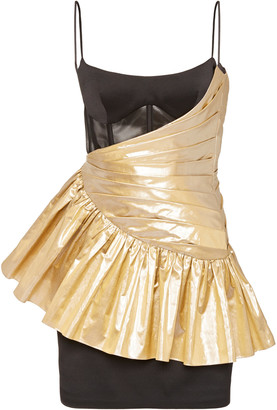 Rasario Exclusive Draped Metallic Silk and Crepe Mini Dress