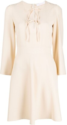 See by Chloe Bow-Detail Long-Sleeve Dress