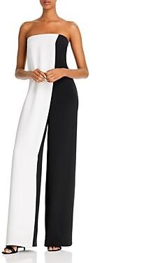 Cushnie Color-Blocked Wide-Leg Silk Jumpsuit