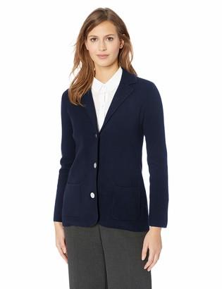 Chaps Women's Solid Long Sleeve Cotton Blend Sweater Blazer