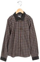 Bonpoint Boys' Plaid Corduroy-Trimmed Shirt