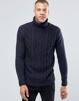 !solid Roll Neck Knit With Cable Detail