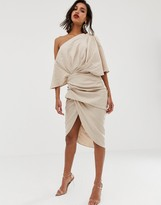 Asos Edition EDITION drape asymmetric linen midi dress