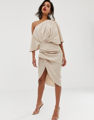 Asos Edition EDITION drape asymmetric linen midi dress-Beige