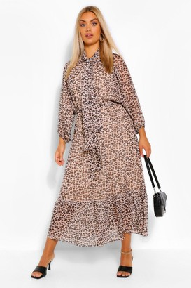 boohoo Plus Leopard Balloon Sleeve Tie Neck Midaxi Dress