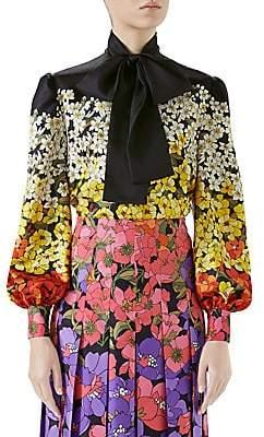 Gucci Women's Silk Twill Floral Tie-Neck Blouse