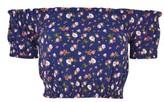 Topshop Petite Women's Bardot Floral Shirred Top