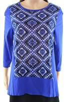 Vince Camuto Blue Ikat-Print Women's Size Small S Blouse