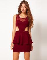 Club L Peplum Dress With Cut Out Dress