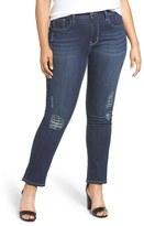 Melissa McCarthy Plus Size Women's Lace Patch Destructed Skinny Jeans