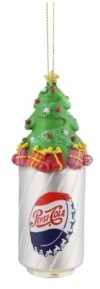 "Northlight 4.75"" Silver Pepsi Bottle Cap Can with Christmas Tree Topper Decorative Glass Ornament"