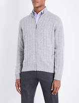 Corneliani Cable-knit wool and cashmere-blend jumper