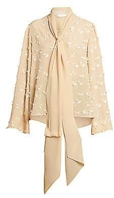 Chloé Women's Tieneck Flutter-Sleeve Floral Silk Blouse