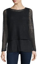 Eileen Fisher Long-Sleeve Layered Linen Top W/ Cami, Black, Plus Size
