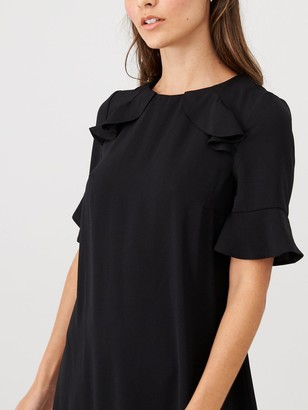 Very Ruffle Detail Formal Tunic Dress - Black