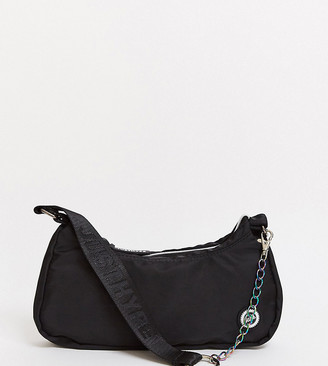 Hype exclusive shoulder bag in black nylon with chain strap