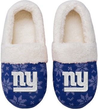 Women's New York Giants Ugly Knit Moccasin Slippers