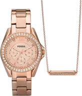 Fossil Women's Riley Rose Gold-Tone Stainless Steel Bracelet Watch & Necklace Box Set 38mm ES4138SET