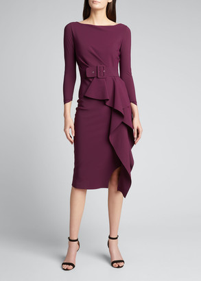 Chiara Boni Afissa Boat-Neck Long-Sleeve Belted Ruffle Dress