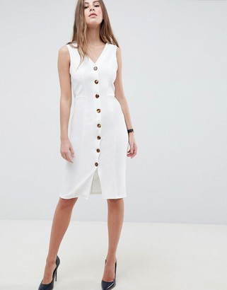 Asos DESIGN v neck dress with faux tortoiseshell buttons