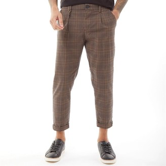 PRODUKT Mens Checked Pants Brown Stone