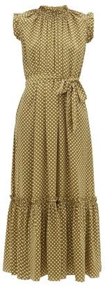Zimmermann Super Eight Polka-dot Silk-satin Dress - Khaki Print