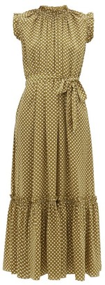 Zimmermann Super Eight Polka Dot Silk Satin Dress - Womens - Khaki Print