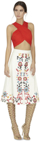 Alice + Olivia Giselle Embroidered Leather Midlength Skirt