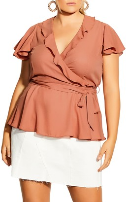 City Chic Ruffle Detail Wrap Front Top