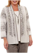 Alfred Dunner Silver Belles 3/4 Sleeve Layered Sweater with Necklace-Plus