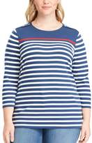 Chaps Plus Size Striped Jersey Crewneck Tee