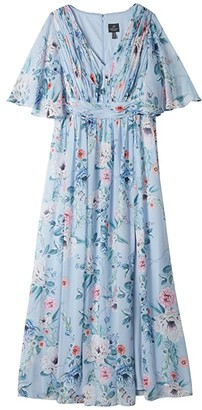 Adrianna Papell Plus Size Printed Floral Chiffon Gown (Glacier Multi) Women's Dress