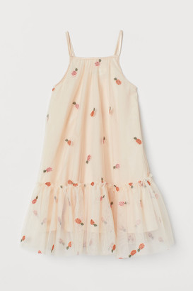 H&M Appliqued Tulle Dress - Orange