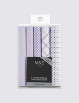 M&s Collection 5 Pack Pure Cotton Assorted Handkerchiefs