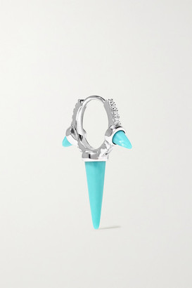 Maria Tash Eternity 8mm 18-karat White Gold, Turquoise And Diamond Hoop Earring
