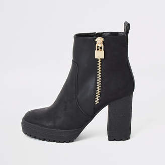 River Island Black faux leather chunky heel ankle boots