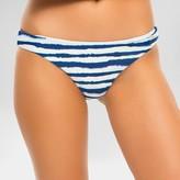 Women's Striped Brazilian Cut Hipster Bikini Bottom - Indigo Blue - Tori Praver Seafoam