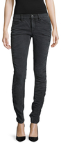 Valentino Ruched Whiskered Skinny Jeans