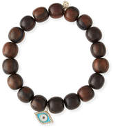Sydney Evan 10mm Wood Beaded Bracelet w/ 14k Diamond Evil Eye Charm