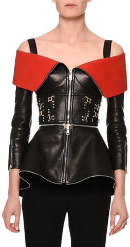 Alexander McQueen Zip-Front Leather Cold-Shoulder Jacket