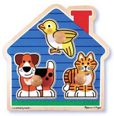 MELISSA & DOUG House Pets Wooden Jumbo Knob Puzzle