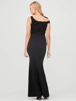 Quiz Scuba Crepe Side Bow Fishtail Maxi Dress - Black