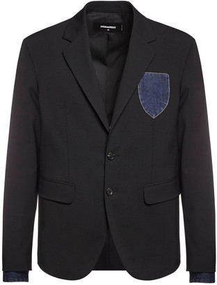 DSQUARED2 Patch Wool Blazer W/ Denim Cuffs