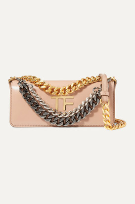 Tom Ford Triple Chain Small Embellished Leather Shoulder Bag - Beige