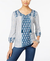 Style&Co. Style & Co. Petite Mixed-Print Peasant Top, Only at Macy's