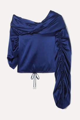 Hellessy Sunshine Draped Asymmetric Silk-charmeuse Blouse - Blue