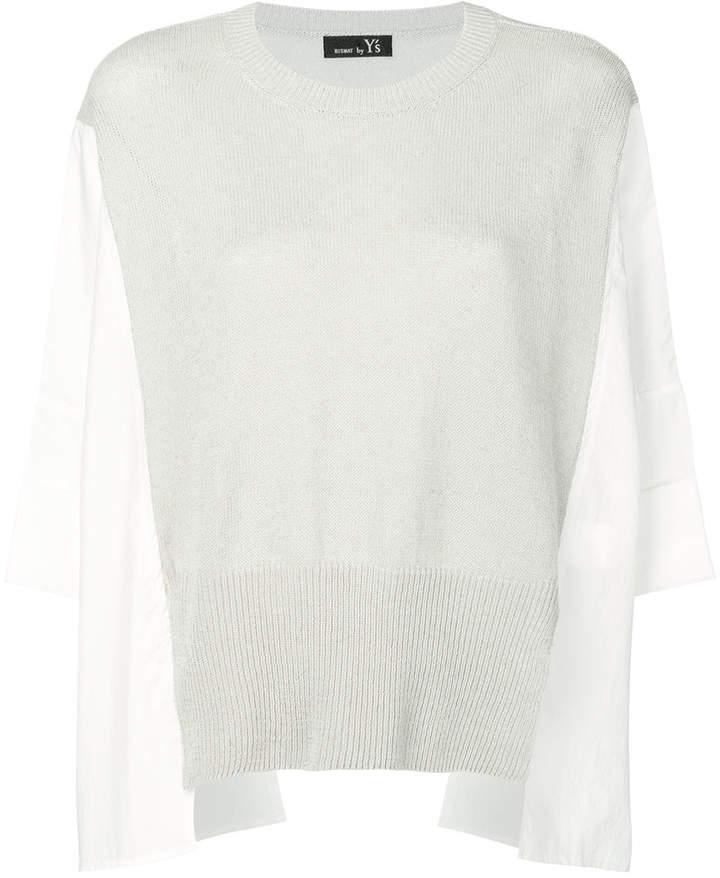 Y's contrast half knit top